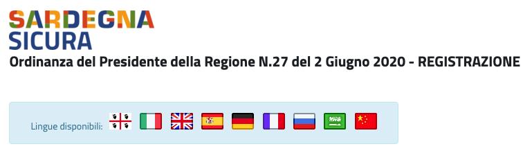Registrierung vor der Einreise nach Sardinien per Online-Formular oder App